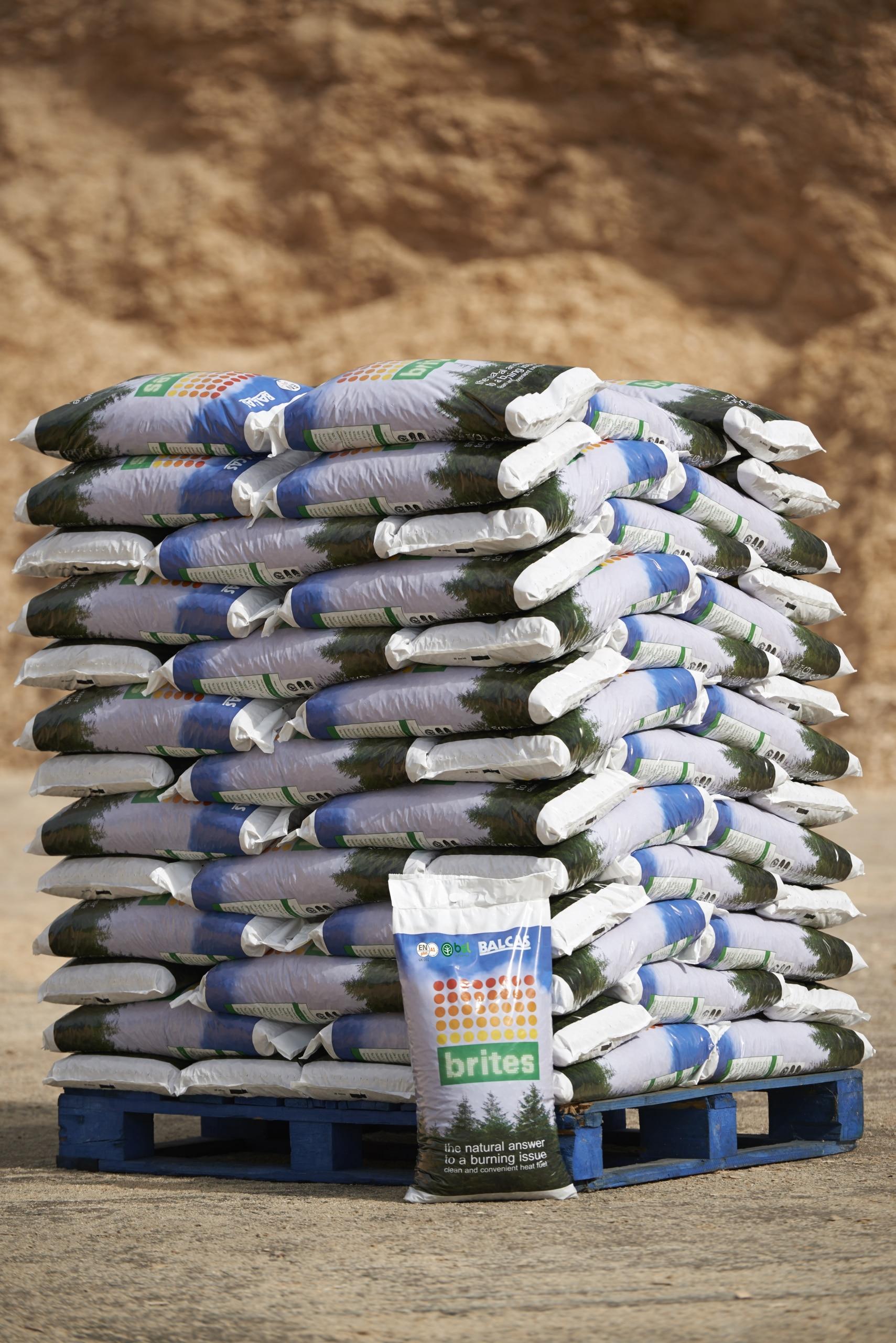 bagged wood pellets